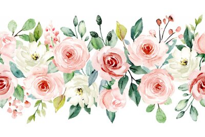 Naklejka Watercolor flowers, pink, white roses. Floral summer repeat border for printing invitations, greeting cards, wall art, stickers and other. Isolated on white. Hand painted.