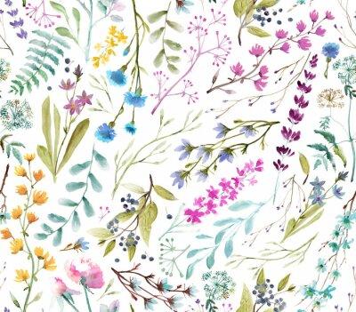 Naklejka  Watercolor flowers. Seamless watercolor pattern.