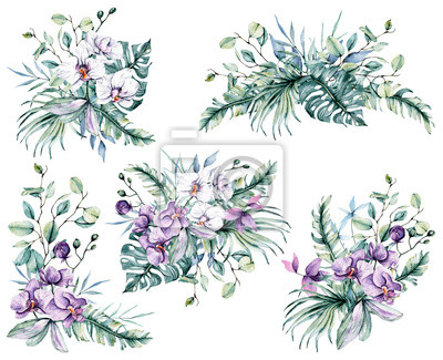 Watercolor flowers set, bouquets tropical flowers orchids and leaves for design wedding invitation, greeting, background, texture, wrapper, postcard, logo, etc. Hand painting.