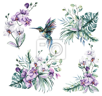 Watercolor flowers set, bouquets with tropical flowers orchids and leaves for design wedding invitation, greeting, wallpaper, fashion, background, texture, wrapper, postcard, logo, etc. Hand painting.