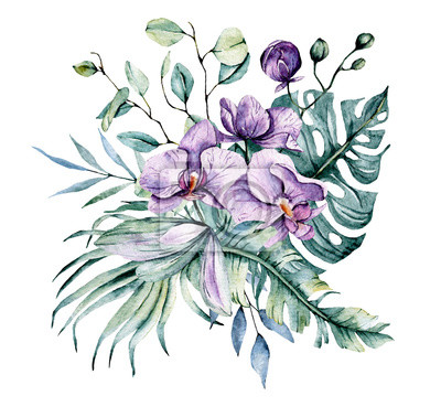 Watercolor flowers, tropical flowers orchids and leaves for design wedding invitation, greeting, wallpaper, fashion, background, texture, wrapper, postcard, logo, etc. Hand painting.