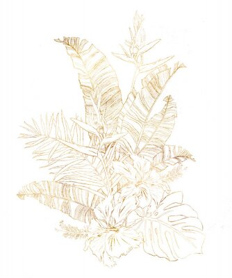 Watercolor gold bouquet with banana leaves and hibiscus. Hand painted tropical linear flowers and palm branches isolated on white background. Floral illustration for design, print or background.