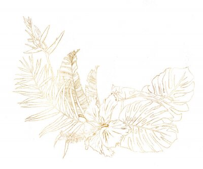 Watercolor gold bouquet with hibiscus and banana branches. Hand painted tropical line art flowers and palm leaves isolated on white background. Floral illustration for design, print or background.