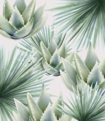 Naklejka Watercolor green palm and cactus leaves. Background vector