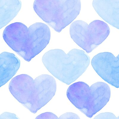 Watercolor hearts seamless background. Blue watercolor heart pattern. Colorful watercolor romantic texture in delicate blue colors.