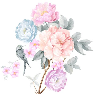 Naklejka Watercolor illustration of a bouquet with a purple and delicate pink rose, leaves and bud, greeting card