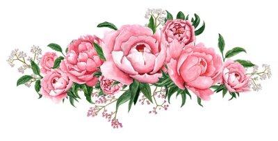 Naklejka Watercolor illustration of pink peony flower blossom