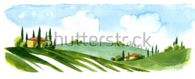 Naklejka Watercolor illustration of small village in Europe. Alpine landscape