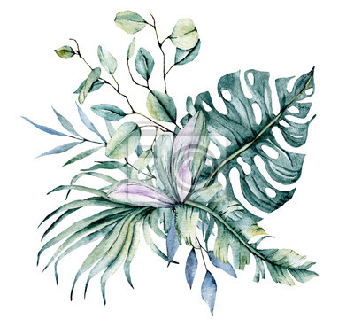 Watercolor leaves. Tropical design for wedding stationary, greeting card, fashion, background, postcard etc. Hand painting.