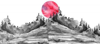 Naklejka Watercolor logo, postcard, background Black silhouette of the forest, pine, spruce, cedar, wild grass, bush. Watercolor landscape,coast, island.black splash of paint, abstract spots. Red, pink sun