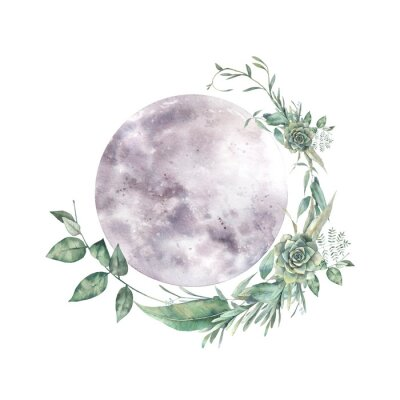 Naklejka Watercolor moon and floral wreath. Natural illustration for logo, tattoo, banner, sticker. Isolated art on white background