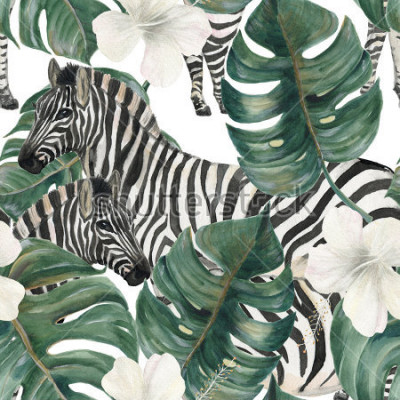 Naklejka Watercolor painting seamless pattern with tropical deliciosa leaves, hibiscus flowers and zebra