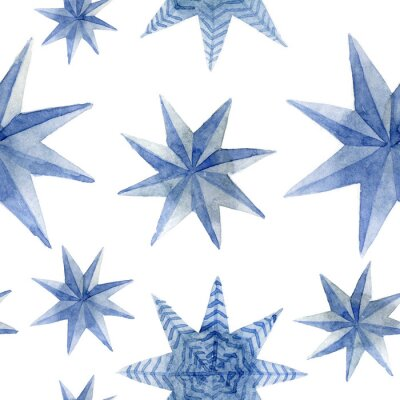 Naklejka Watercolor pattern of Christmas blue stars decoration elements. Hand-drawn illustration on the white background