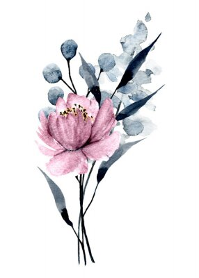 Watercolor pink flower, botanical hand painting, isolated on white background.
