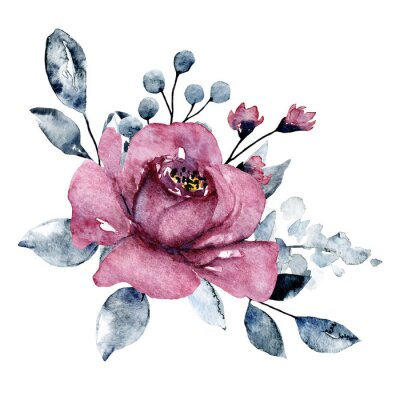 Watercolor pink flower, grey leaves. Bouquet, floral illustration isolated on white. Hand painting for greeting card, wedding invitation, blog, banner design.
