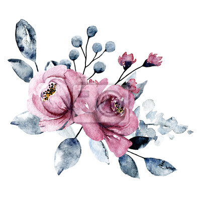 Watercolor pink flowers, grey leaves. Bouquet, floral illustration isolated on white. Hand painting for greeting card, wedding invitation, blog, banner design.
