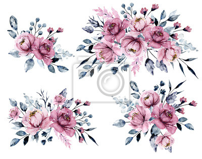 Watercolor pink flowers, grey leaves set. Bouquets, floral illustrations isolated on white. Hand painting for greeting card, wedding invitation, blog, banner design.