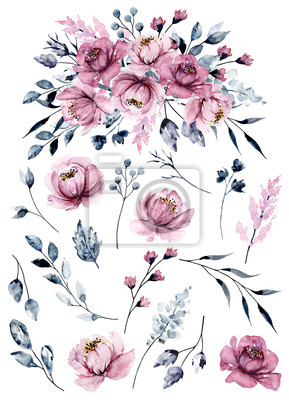 Watercolor pink flowers set, botanical hand painting, isolated on white background.