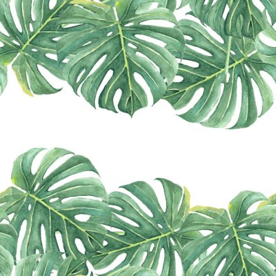 Naklejka Watercolor seamless background with colorful tropical leaves and bright plants on light background. Jungle print. Floral background. Printing and textiles. Exotic tropics. Fresh design.