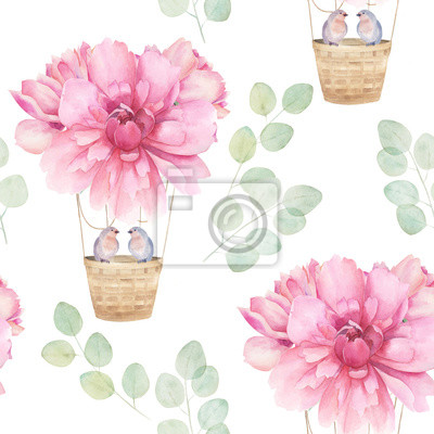 Watercolor seamless pattern. Aerostat ballon with pink peony and bird couple, eucalyptus branches. Hand drawn floral illustration