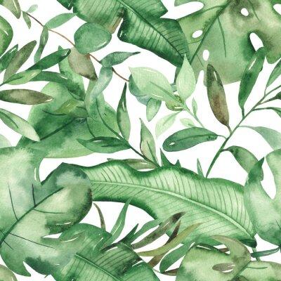 Naklejka Watercolor seamless pattern green tropical leaves