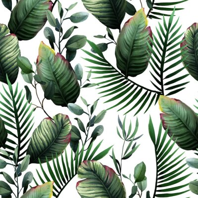 Naklejka Watercolor seamless pattern of tropical green leaves and palm on white