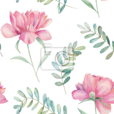 Watercolor seamless pattern. Vintage print with peony flowers and eucalyptus branches. Hand drawn illustration