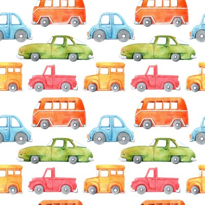 Naklejka Watercolor seamless pattern with cartoon car. Funny cartoon image. Travel conception. Hand painted retro car pattern. Watercolor vintage white background. . Multicolor car texture.