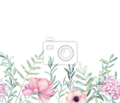 Watercolor seamless pattern with eucalyptus branch, fern and hydrangea. Hand drawn botanical illustration. Floral watercolour background