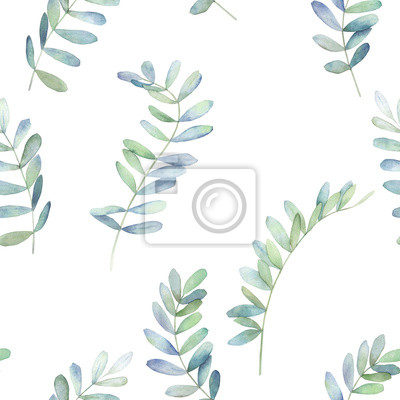 Watercolor seamless pattern with eucalyptus branches . Hand drawn illustration