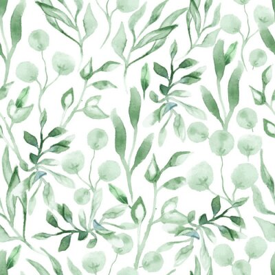 Naklejka Watercolor seamless pattern with green leafs and branches. Hand drawn summer textile decoration botanical floral illustration.