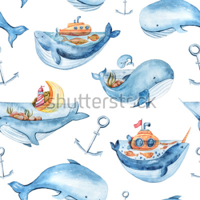 Naklejka Watercolor seamless pattern with sea life. Wallpaper, textile pattern for kids.