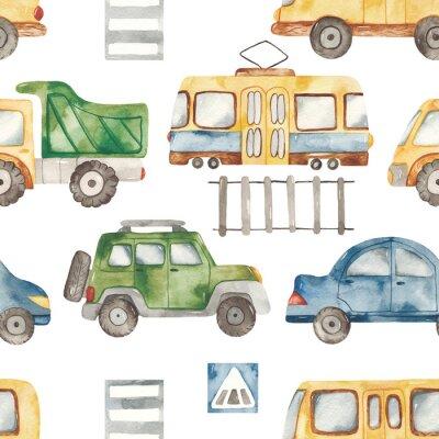 Naklejka Watercolor seamless pattern with urban cartoon cute transport. Texture for boyish design, birthday, wallpaper, scrapbooking, prints, clothes, fabrics, textiles, packaging.