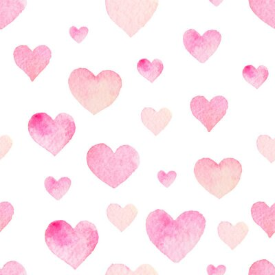 Naklejka Watercolor seamless vector pattern with hearts for Valentine Day