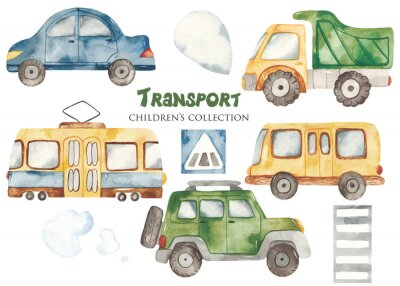 Naklejka Watercolor set with a cute cartoon kids transport for a boy. Cars, bus, tram, truck for baby shower, cards, invitations, prints, logos.