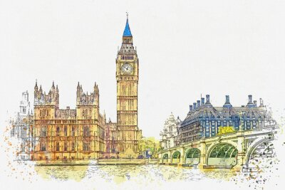 Naklejka Watercolor sketch or illustration of a beautiful view of the Big Ben and the Houses of Parliament in London in the UK