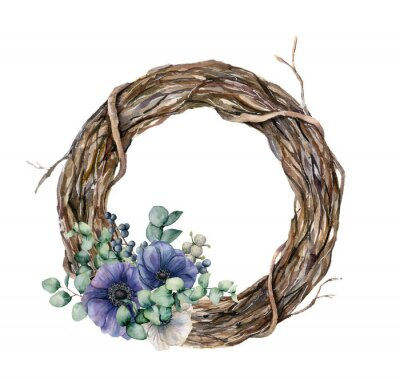 Watercolor tree wreath with blue and white anemone. Hand painted flowers, green eucalyptus leaves on white background. Illustration for design, fabric or background.