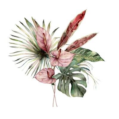 Watercolor tropic bouquet with anthurium and palm leaves. Hand painted card with flowers isolated on white background. Floral illustration for design, print, background. Template for holiday.