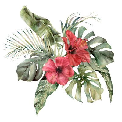 Watercolor tropic bouquet with hibiscus and palm leaves. Hand painted card with flowers and plant isolated on white background. Floral illustration for design, print, background. Template for holiday.