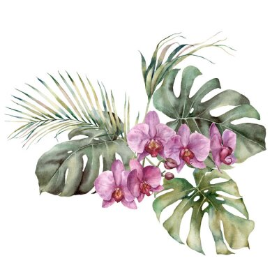 Watercolor tropic bouquet with orchid and palm leaves. Hand painted card with flowers and plant isolated on white background. Floral illustration for design, print, background. Template for holiday.
