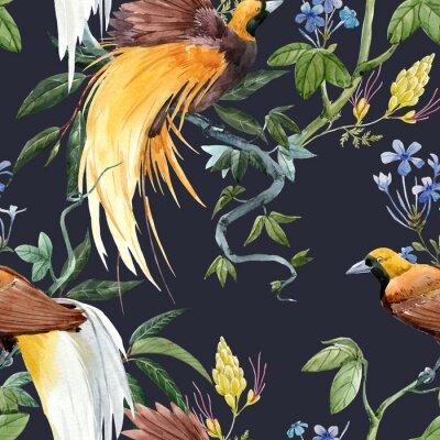 Naklejka Watercolor tropical seamless pattern