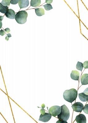 Naklejka Watercolor vector frame with green eucalyptus leaves.