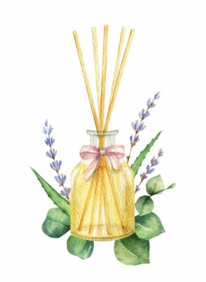 Naklejka Watercolor vector Spa arrangement of cosmetic products.