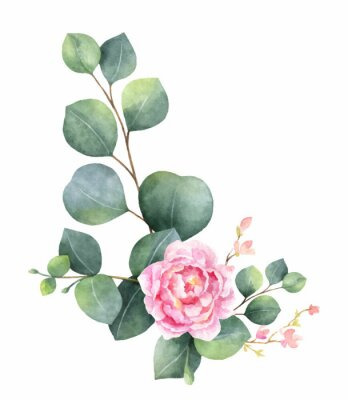 Naklejka Watercolor vector wreath with green eucalyptus leaves, peony flowers and branches.
