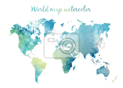Naklejka Watercolor world map in vector on wight background. Illustration in vector