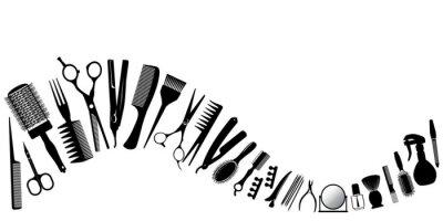 Naklejka Wave z sylwetką narzędzi do fryzjera