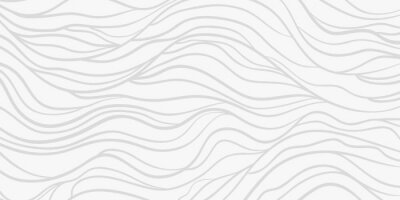 Naklejka Wavy background. Monochrome backdrop with curved stripes. Repeating abstract waves. Stripe texture with many lines. Black and white illustration