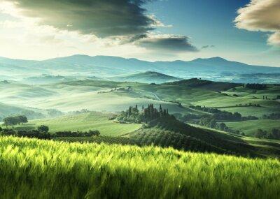 Naklejka Wczesną wiosną rano w Toskanii we Włoszech