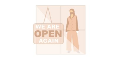 We are open.Welcome back after pandemic.Vector flat illustration template for landing, banner, poster.