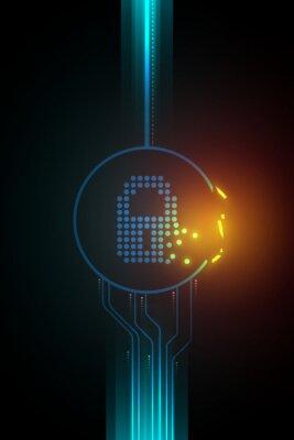 Naklejka Weakness of digital data security illustration, broken lock symbol, dark circuit concept.